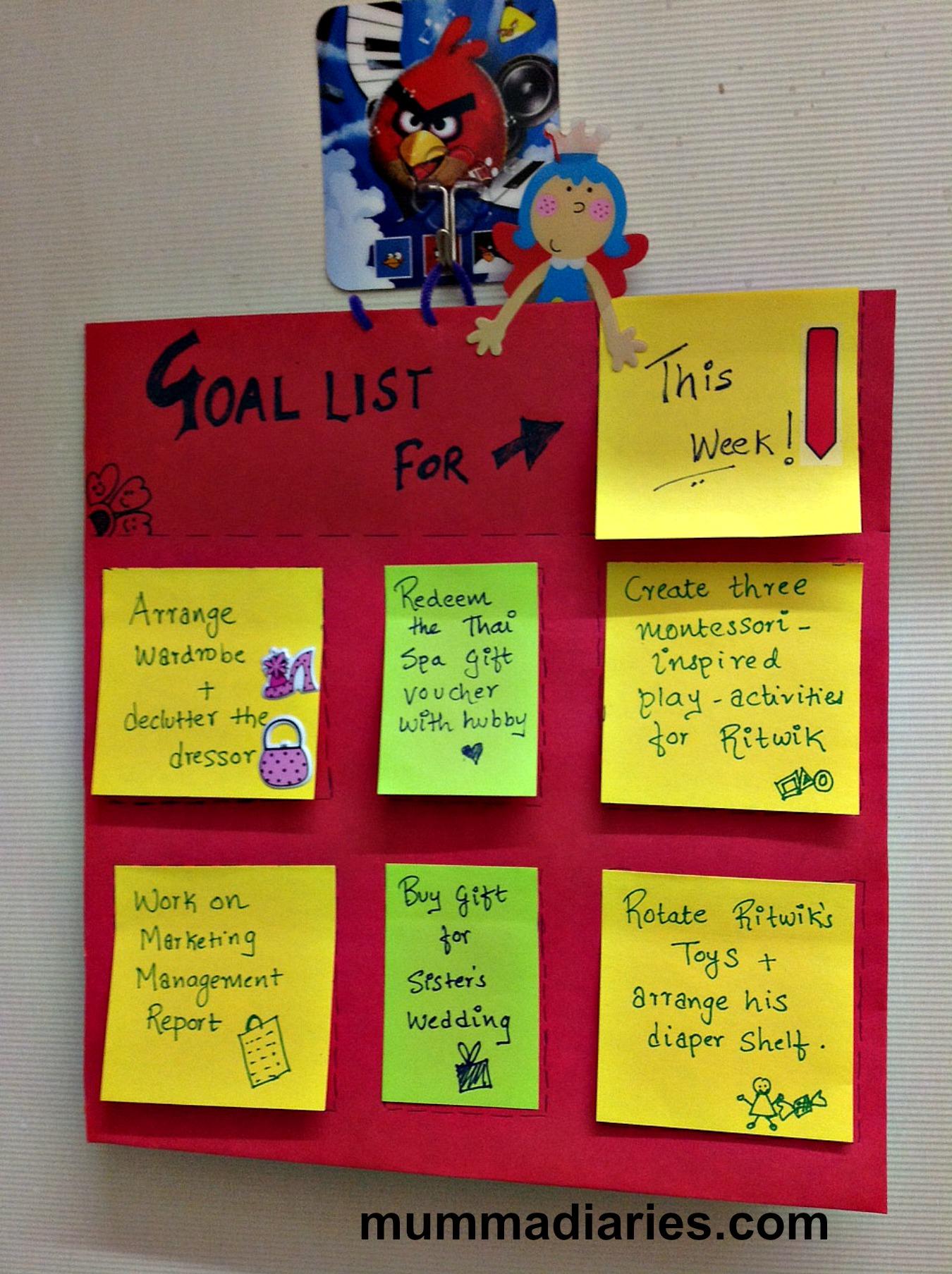 Goal Calendar Diy : Diy rotating goal chart mumma diaries