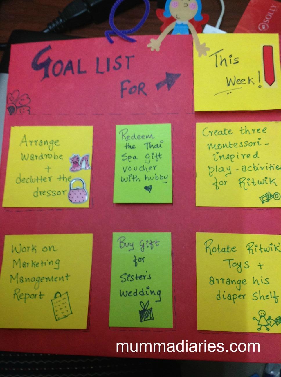 Diy Rotating Goal Chart Mumma Diaries
